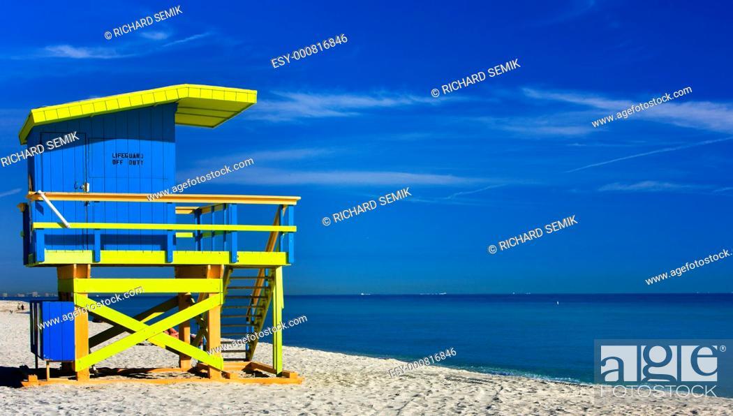 Stock Photo: cabin on the beach, Miami Beach, Florida, USA.