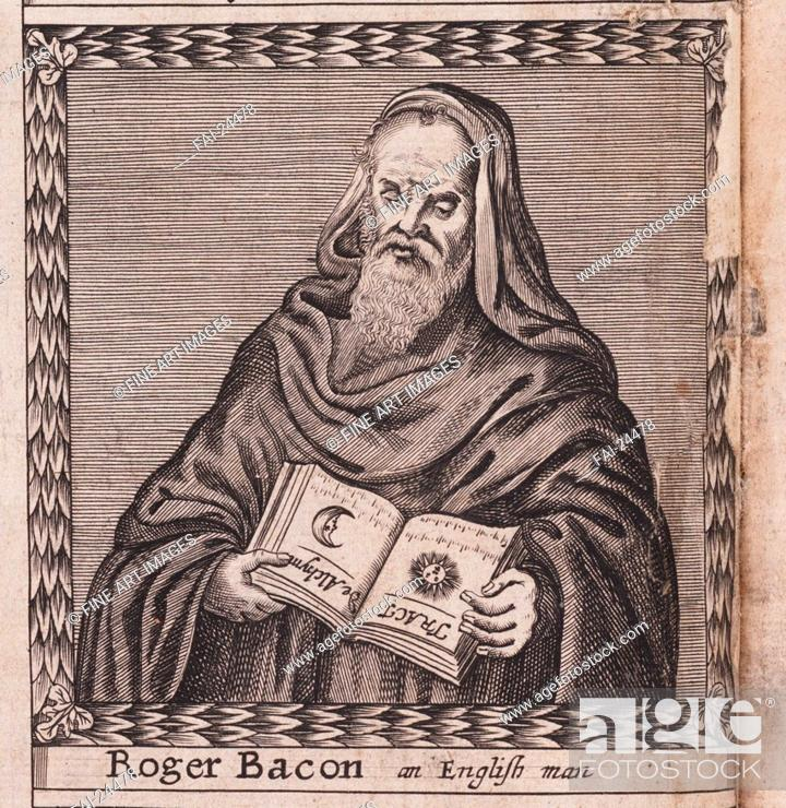 Stock Photo: Roger Bacon (From: The order of the Inspirati). Anonymous . Copper engraving. Baroque. 1659. Private Collection. Portrait. Graphic arts.