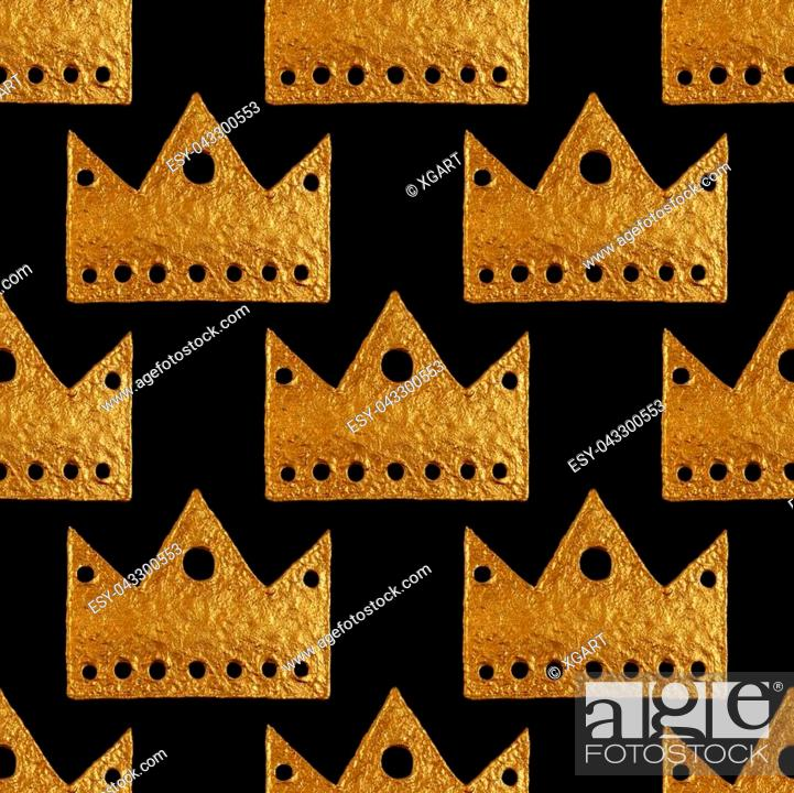 Stock Photo: Crown pattern. Hand painting seamless background. Vintage gold illustration.