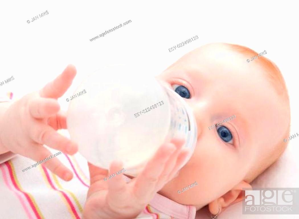 Stock Photo: Eating Baby Girl.
