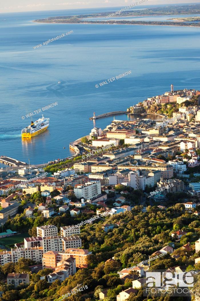 Stock Photo: France, Corsica, Haute-Corse Department, Le Cap Corse, Bastia, elevated city view from the Bastia Corniche, dawn.