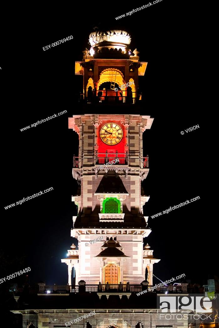 Stock Photo: clock tower in the beautiful city of jodhpur in rajasthan state in india.