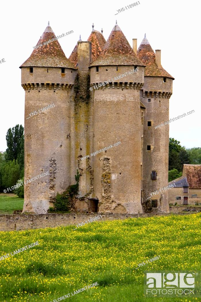 Stock Photo: France, Centre province, Departement of Indre 36, Sarzay   The castle of Sarzay medieval where the famous french writer George Sand liked come with her lover.