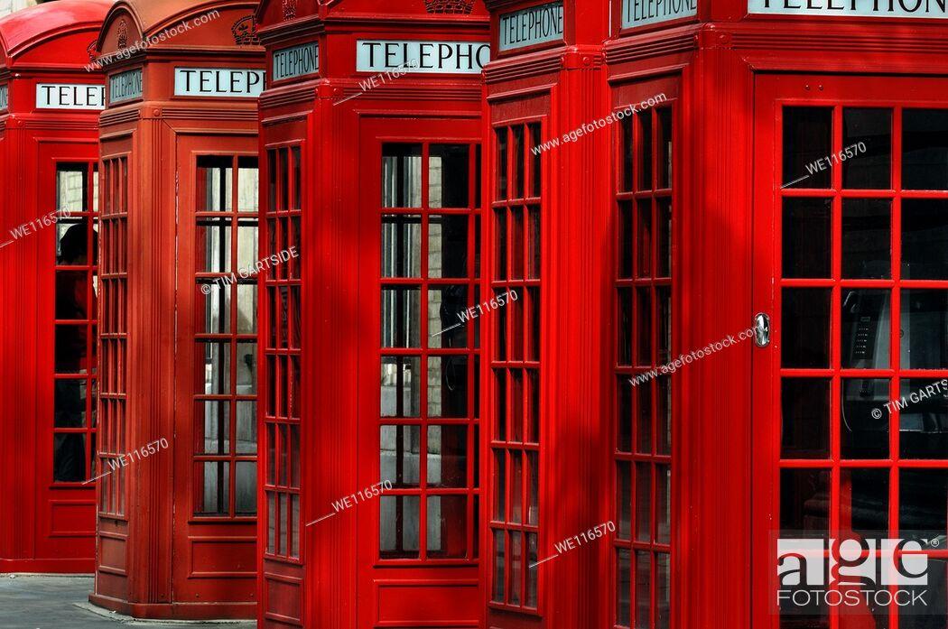 Stock Photo: red public telephone box, London, England, UK.