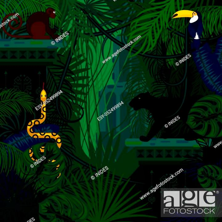 Stock Vector: Rainforest wild animals and plants vector background. Panther, snake and monkey in the dark jungles.