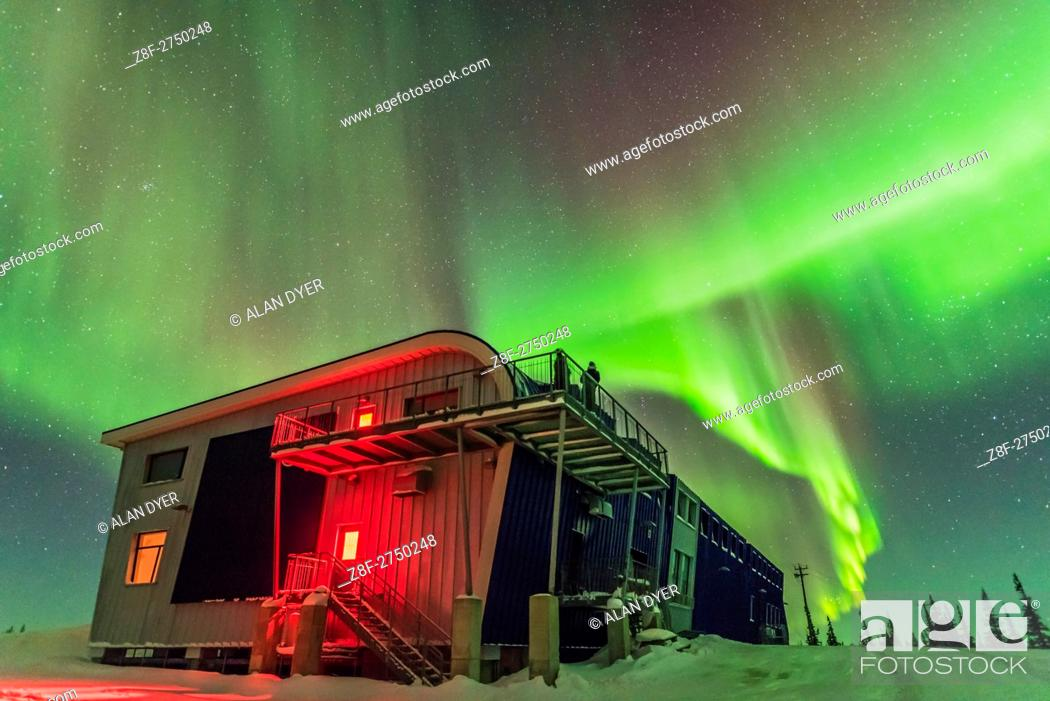 Stock Photo: The Northern Lights, or aurora borealis, on the night of March 4/5, 2016 as seen and shot from the Churchill Northern Studies Centre near Churchill, Manitoba.