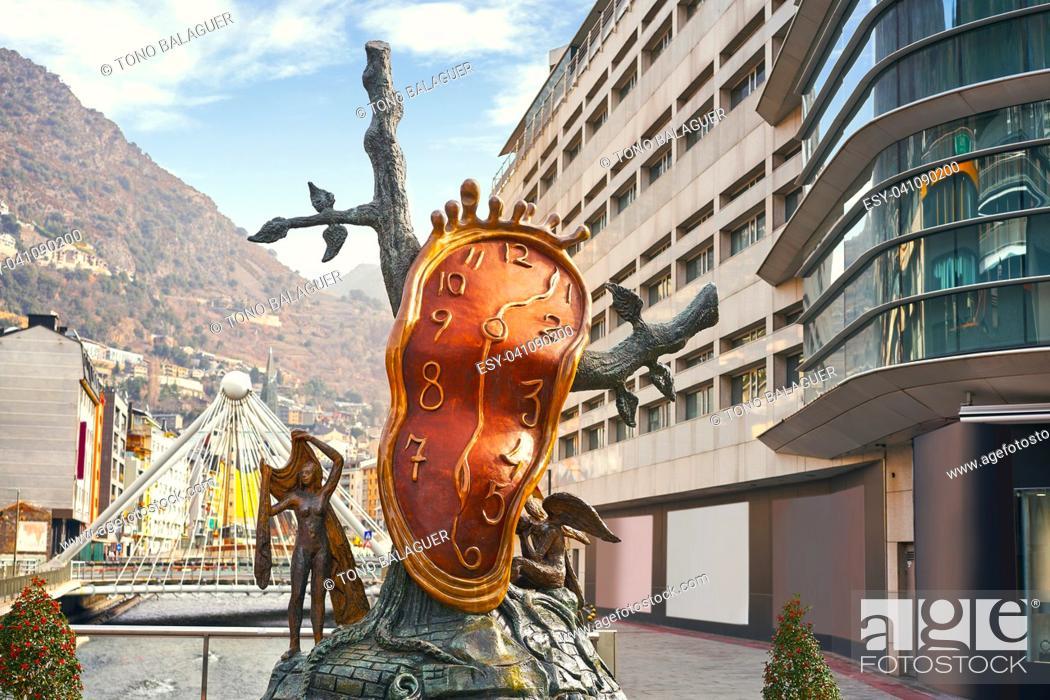 Stock Photo: Andorra la Vella Salvador Dali Noblesse du Temps sculpture in Pyrenees.