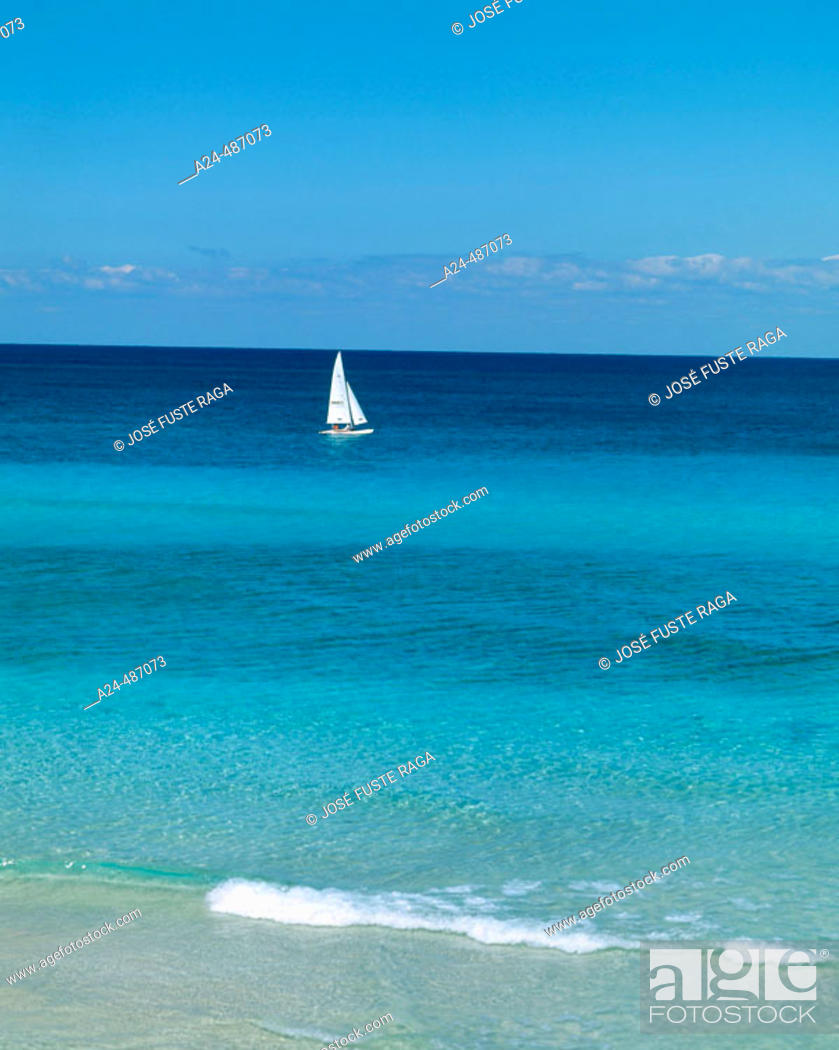 Stock Photo: Sailboat at sea. Varadero beach. Cuba.