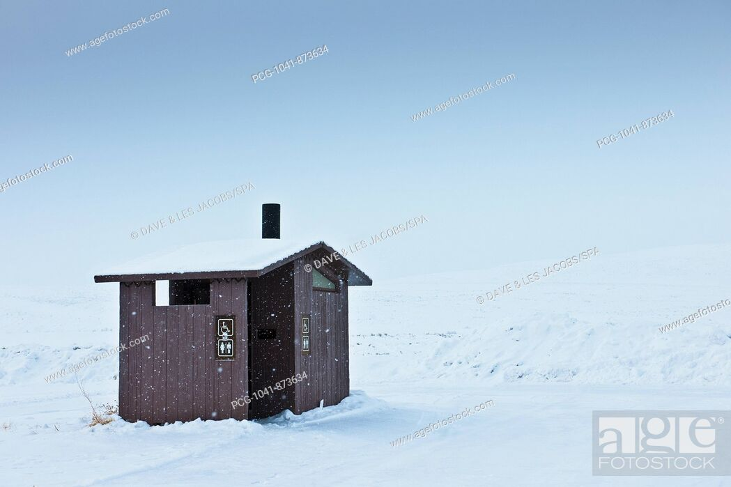Stock Photo: Restroom in a Snowy Landscape.