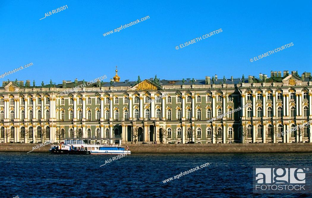 Stock Photo: Russia - St Petersburg - Hermitage near the Neva - Build by Rastrelli 18th.