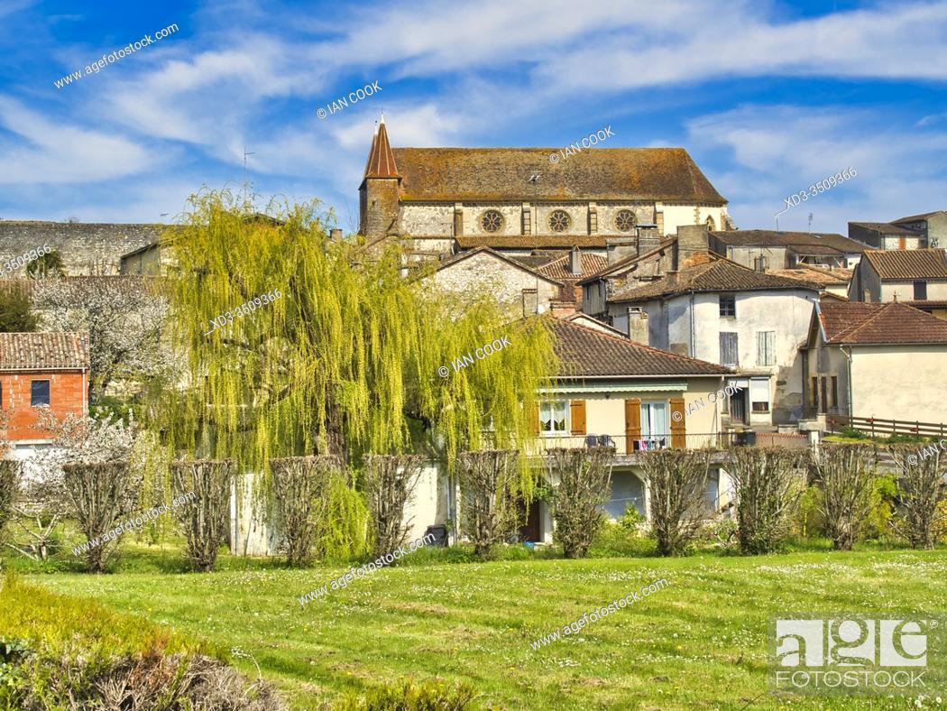 Stock Photo: view of village from the west with Eglise Saint Etienne, Lauzun, Lot-et-Garonne Department, Nouvelle Aquitaine, France.