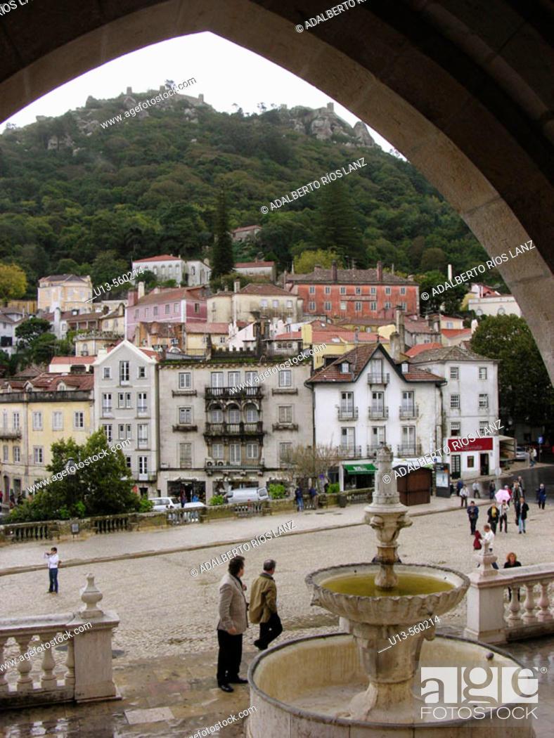 Stock Photo: Main Entrance Palacio Nacional De Sintra Royal Palace Sintra Vila Portugal.