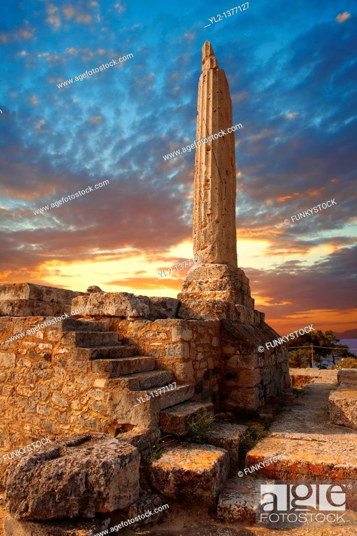 Stock Photo: The Greek archaeological site of Ancient Aegina, Kolna, Greek Saronic Islands.