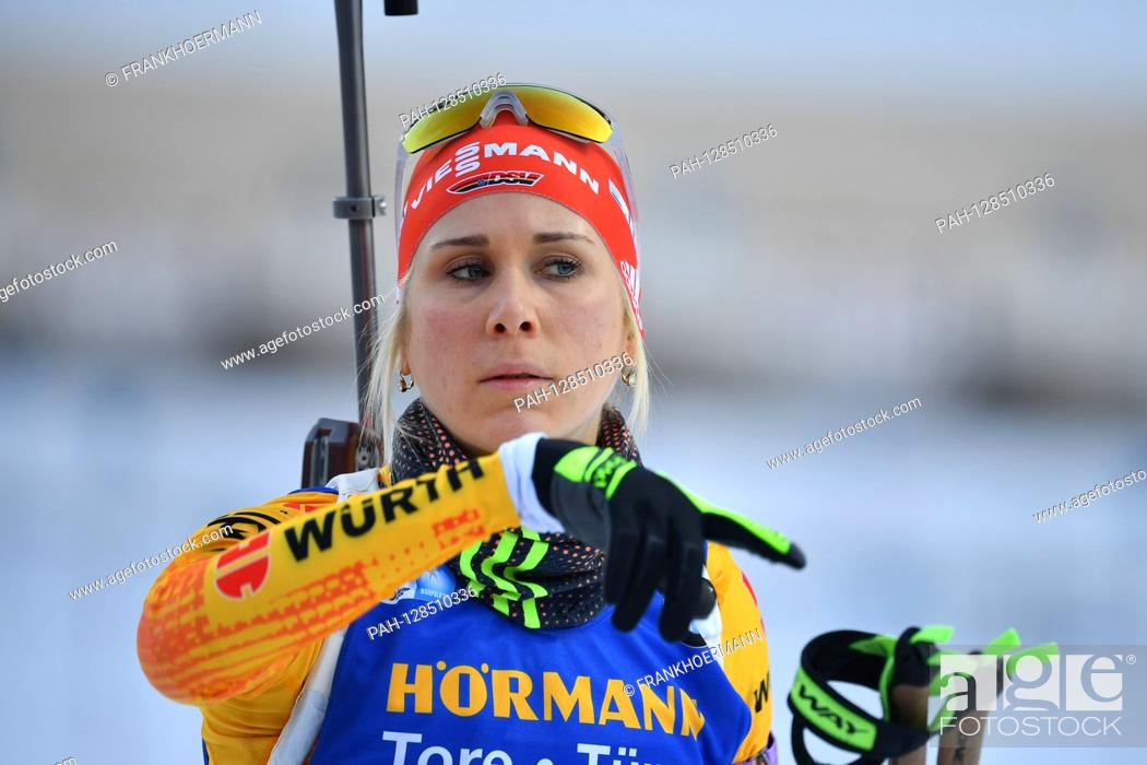 Stock Photo: Karolin HORCHLER (GER), gesture, action, single image, cut single motif, portrait, portrait, portrait. 7.5km sprint of women, women on January 15th, 2020.