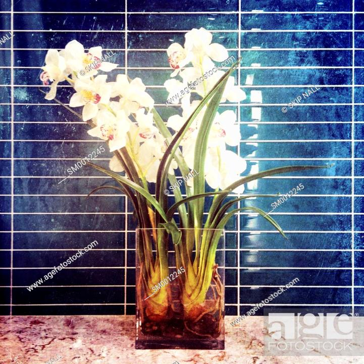 Stock Photo: A vase of flowers against a blue tile wall.