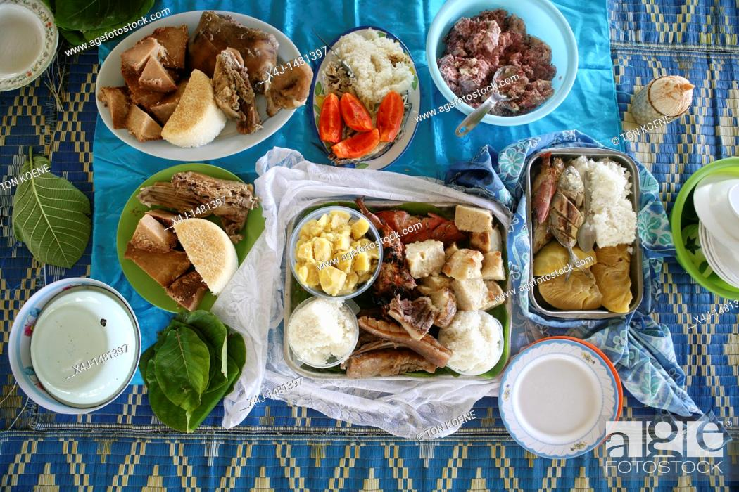 Stock Photo: fish meal on Tuvalu, island in the Pacific.