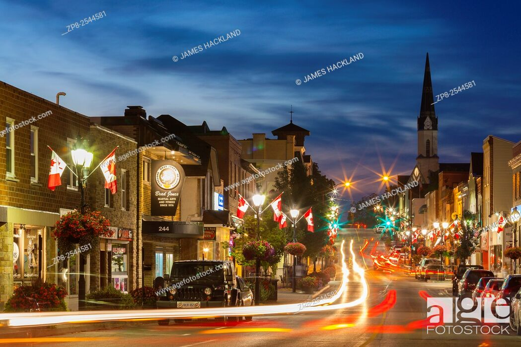 Stock Photo: A view looking north from the bottom of Main Street at dusk. Downtown, Newmarket, Ontario, Canada.