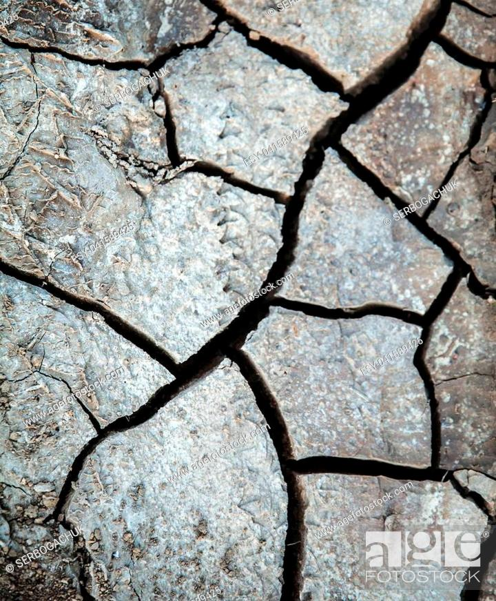 Stock Photo: drought, cracked earth in gray. earth without rain. background a.