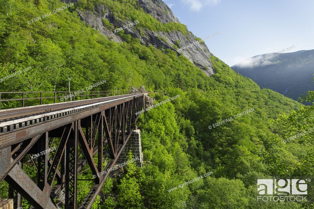 Stock Photo: Willey Brook Trestle along the old Maine Central Railroad in Hart's Location, New Hampshire. This trestle is within Crawford Notch State Park.