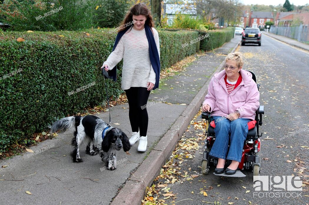 Imagen: Young girl and wheelchair user talking dog for walk.
