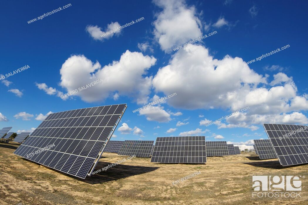 Stock Photo: group of solar panels for production of renewable electrical energy in Saragossa province, Aragon, Spain.