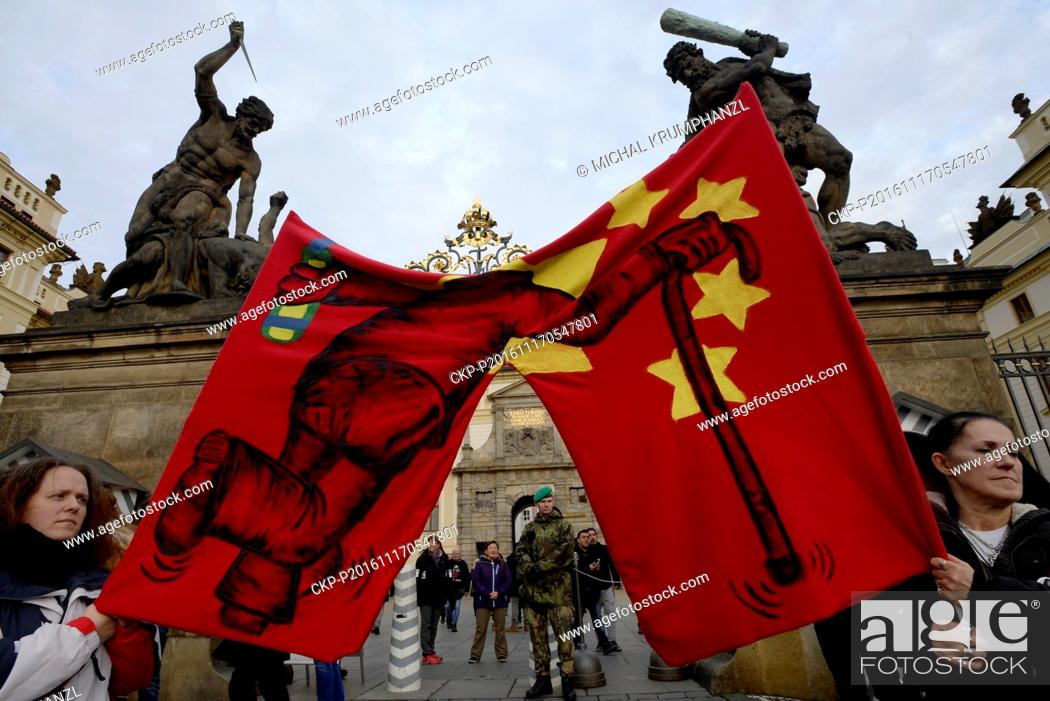 Stock Photo: A crowd of several hundred attended a rally against populism and President Milos Zeman's policy at the Hradcanske namesti square at Prague Castle.
