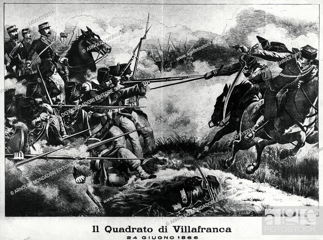 Imagen: Italian Infantry Square during the Battle of Custoza (Un quadrato della fanteria italiana durante la Battaglia di Custoza), 19th Century, engraving.