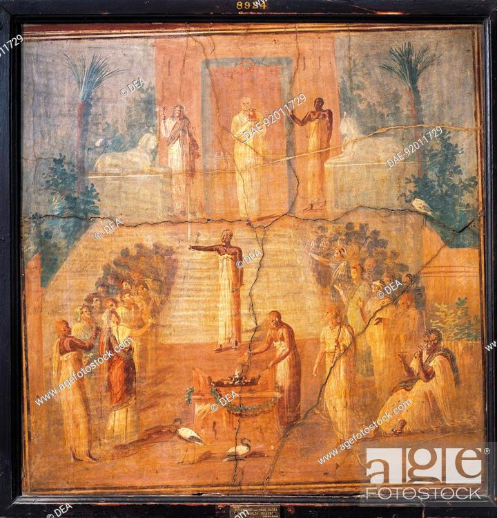 Stock Photo: Roman civilization. Fresco depicting Isis worship. From Ercolano, Naples province, Italy.  Naples, Museo Archeologico Nazionale (Archaeological Museum).