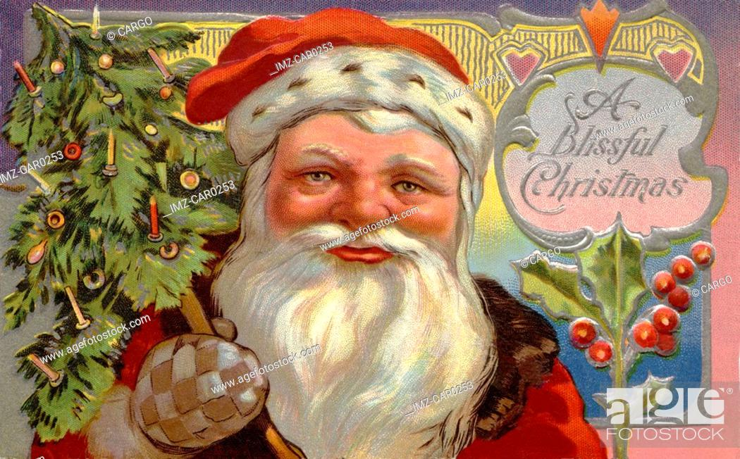 Stock Photo: Vintage Christmas postcard of Santa Claus carrying a tree over his shoulder.