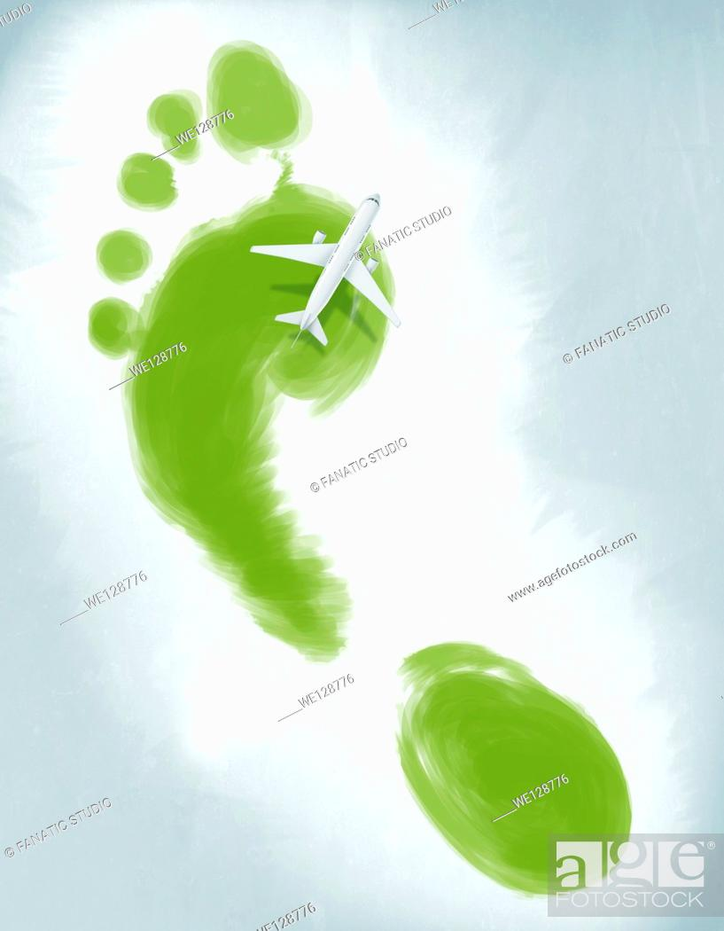Stock Photo: Illustrative image of air plane flying over green footprint representing green travel.