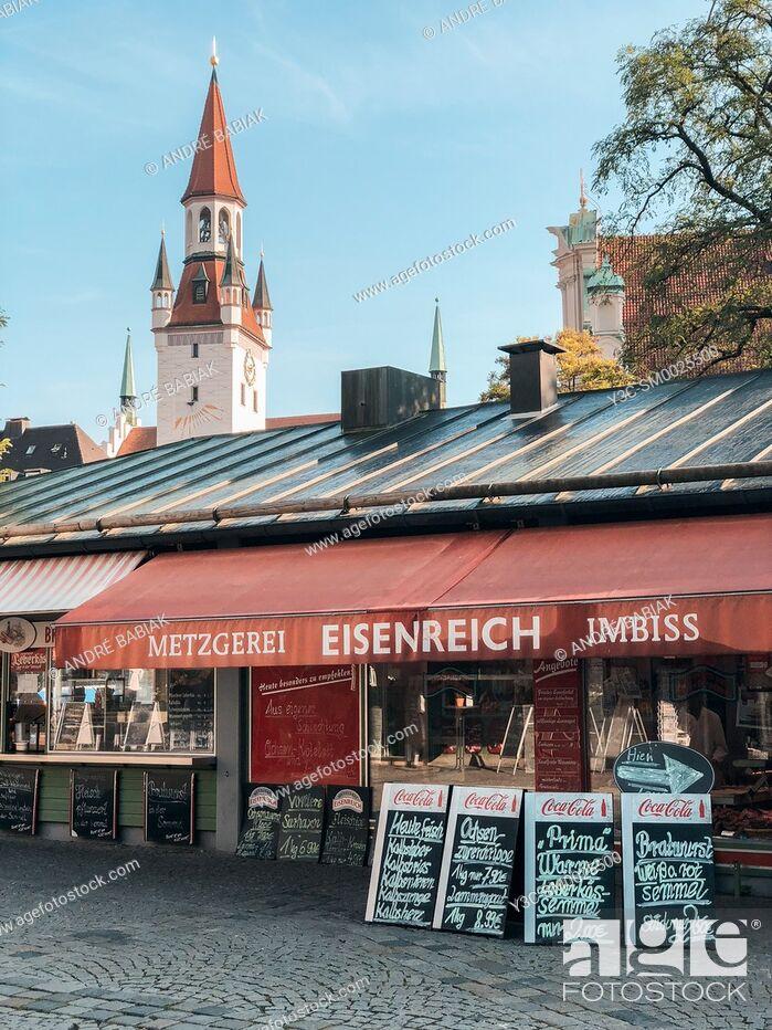 Stock Photo: Meat market at Viktualienmarkt Munich, Bavaria, Germany.