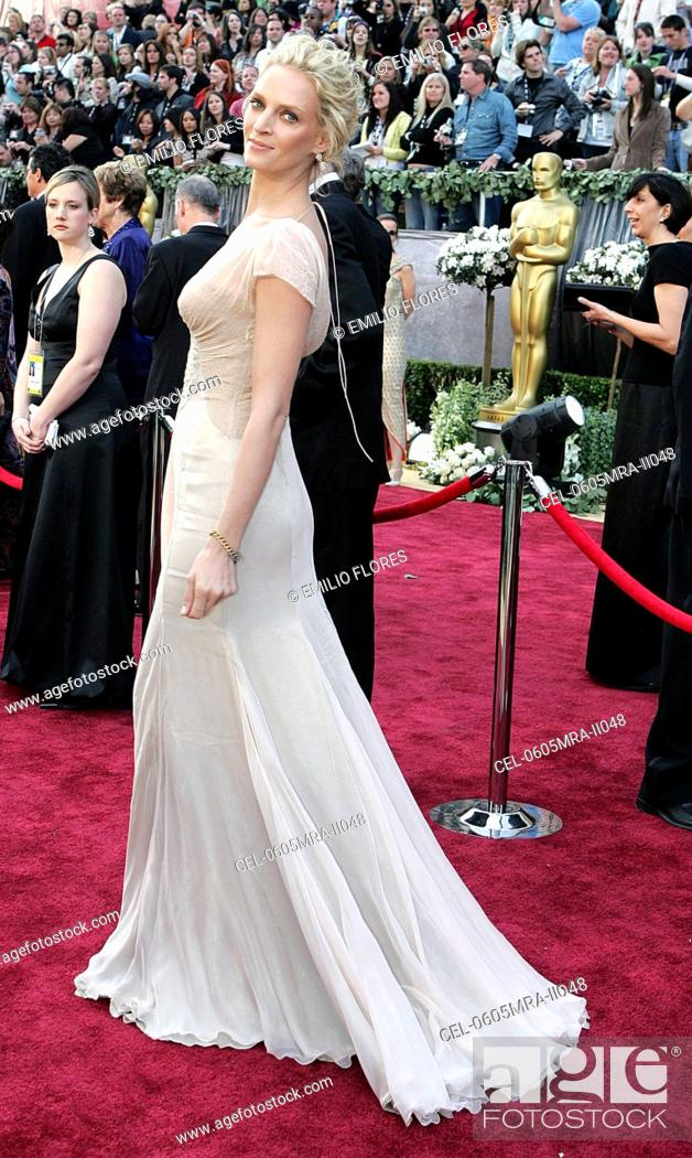 Stock Photo Uma Thurman Wearing Versace At Arrivals For OSCARS 78th Annual Academy