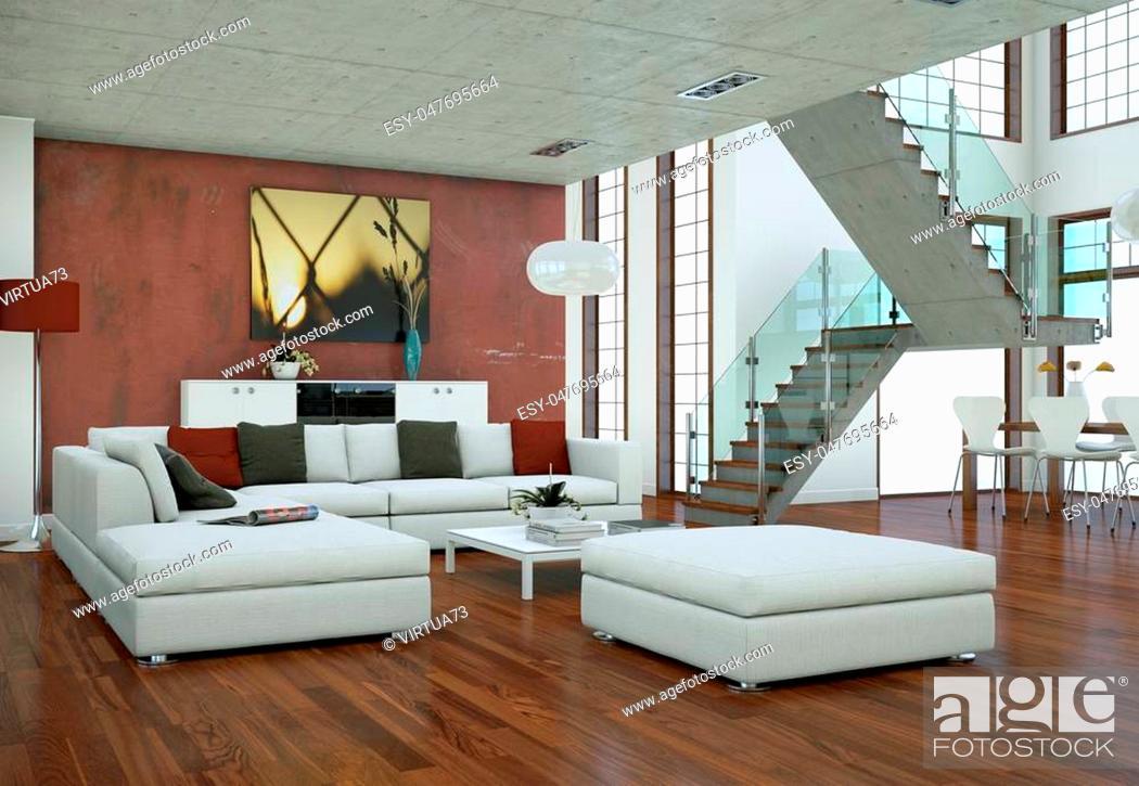 Stock Photo: Minimalistic loft interior design with sofas and concrete walls 3d Rendering.
