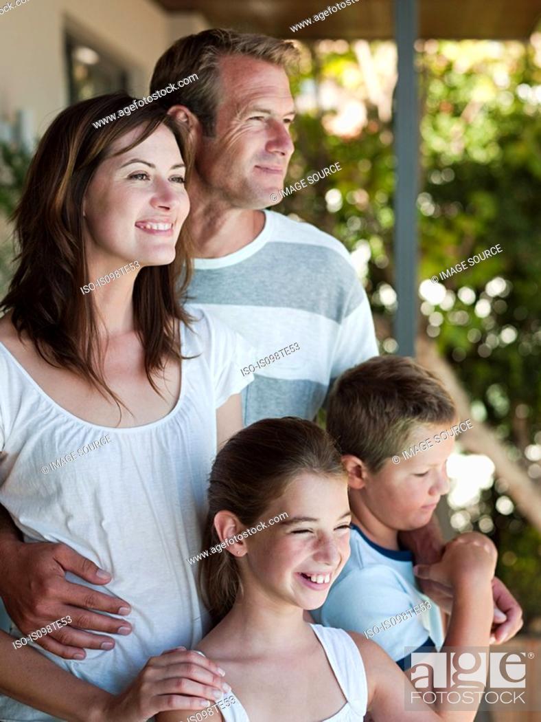 Stock Photo: Happy family outdoors.