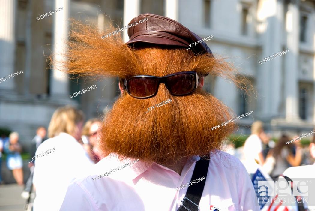 Stock Photo: Jack Passion, at a parade showcasing contestants in the World Beard and Moustache Championships, 2007, in London, England.
