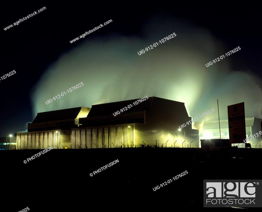Stock Photo: Steam rising from the cooling towers at Powergen gas-fired power station at Killingholme.