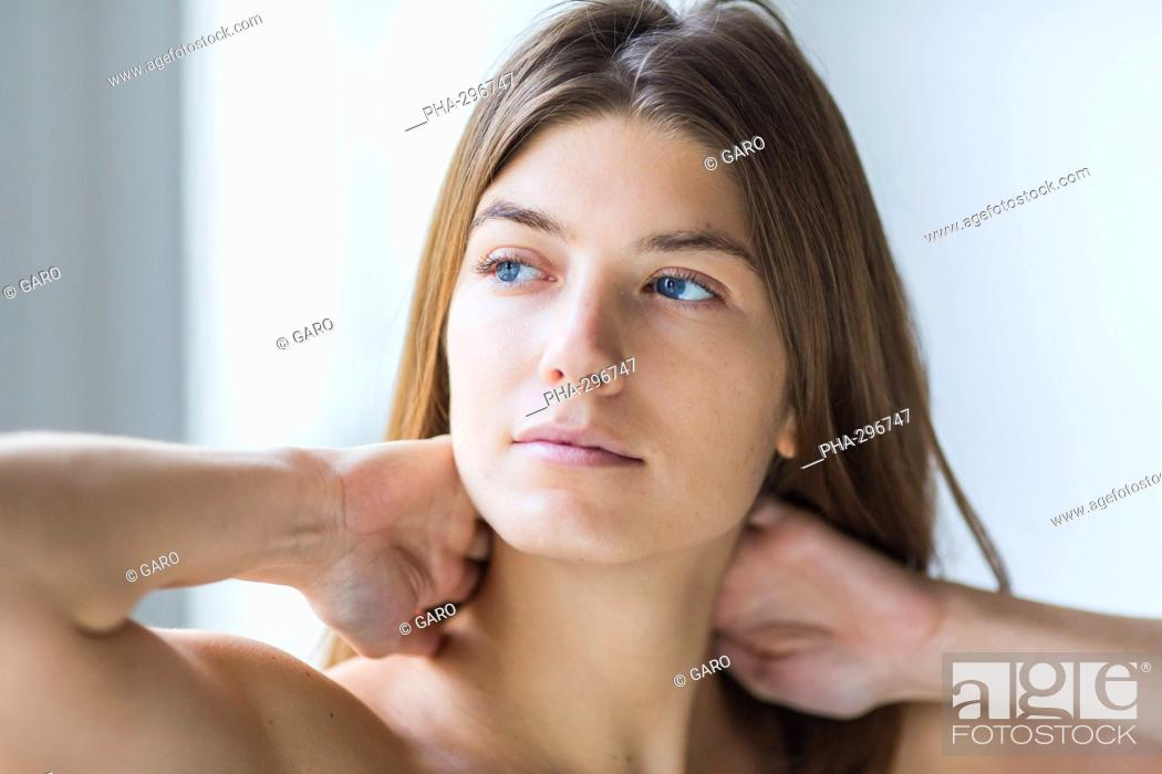 Stock Photo: Woman suffering from neck pain.