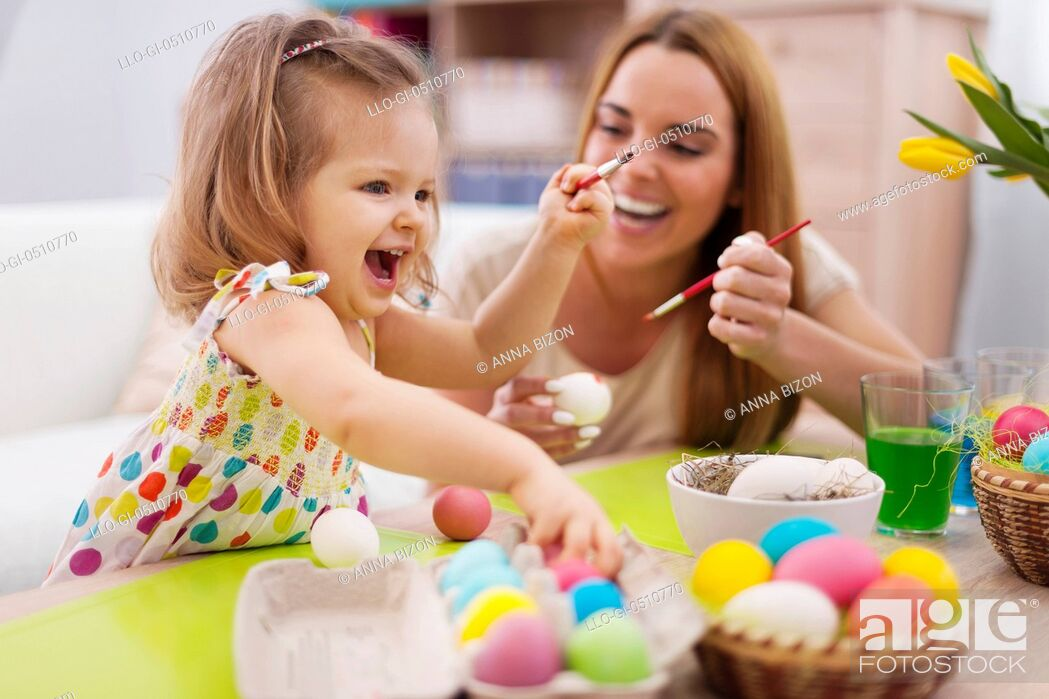 Stock Photo: Happy time while painting easter eggs. Debica, Poland.