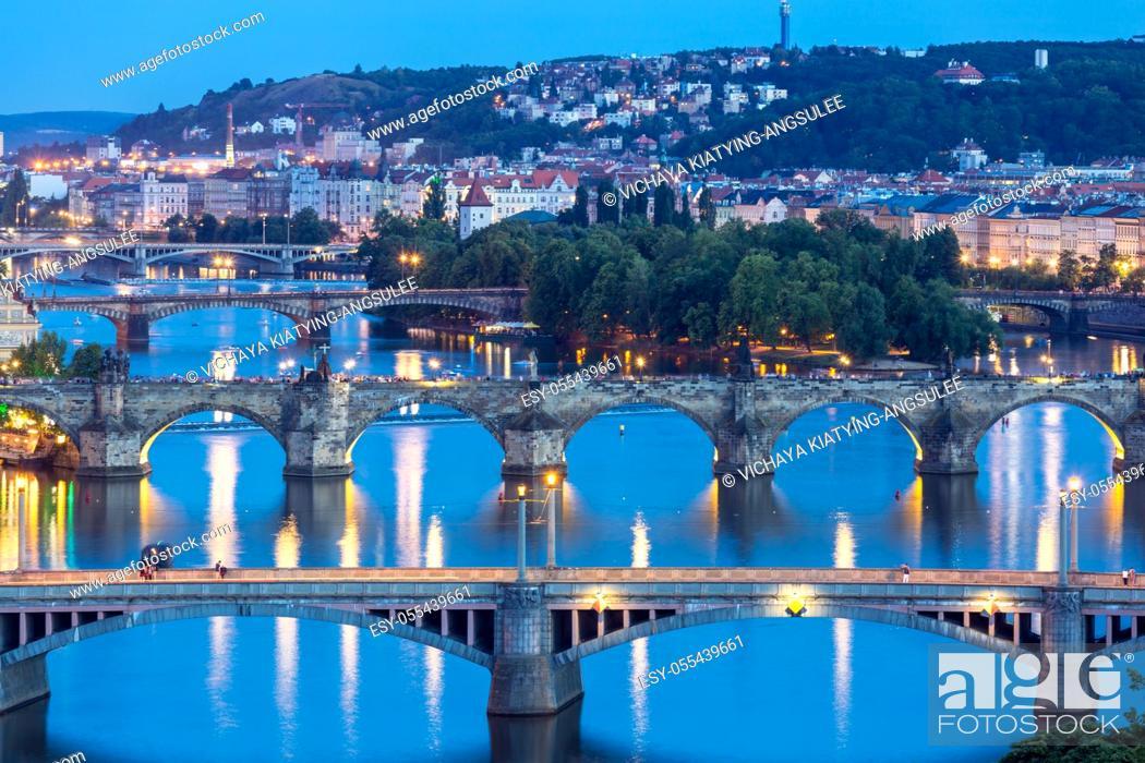 Stock Photo: view of Bridges on Vltava, Prague at dusk, Czech Republic.