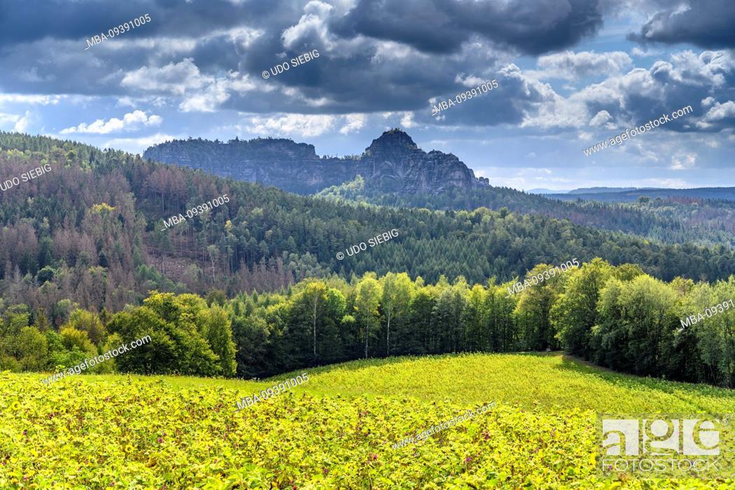 Stock Photo: Germany, Saxony, Saxon Switzerland, Sebnitz, district Mitteldorf, Schrammsteinmassiv, view from the panoramaweg.