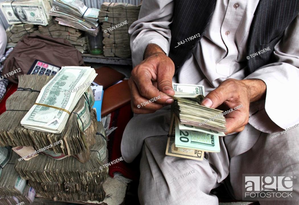 Stock Photo: exchange market in kabul.