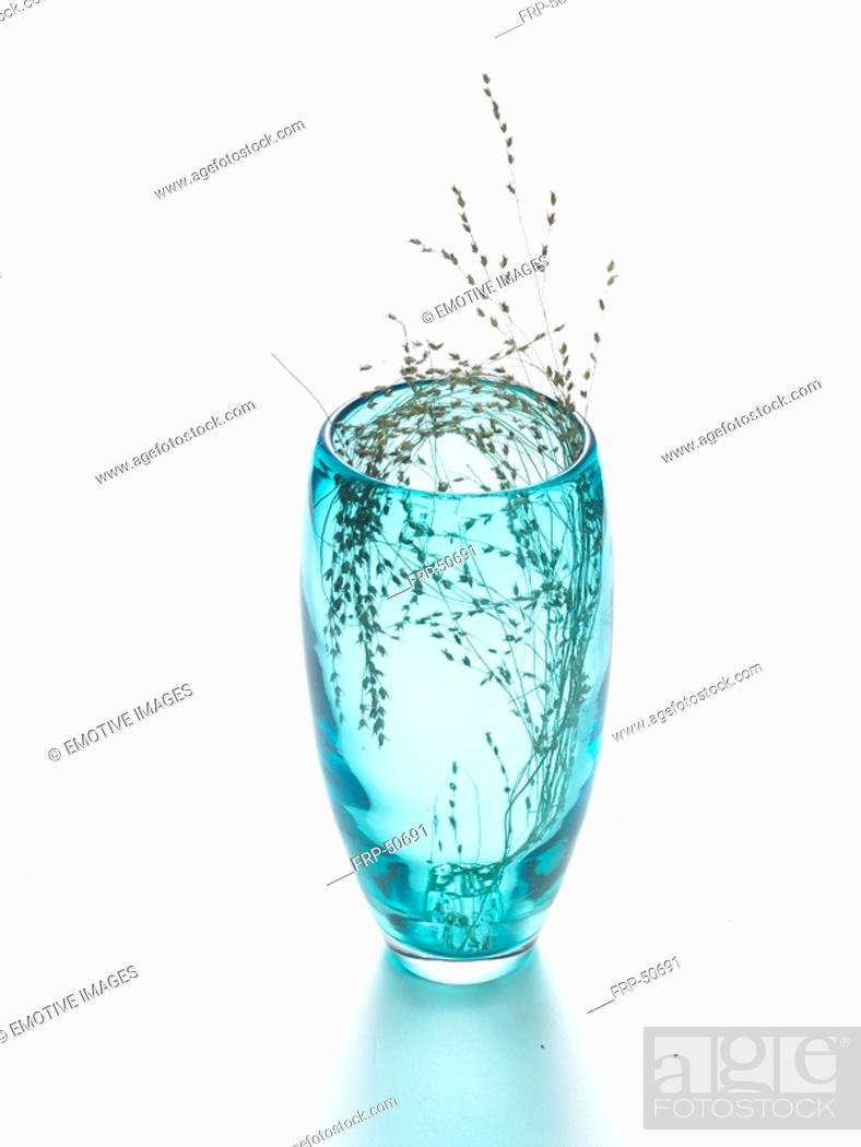 Stock Photo: Gras in a light blue glass vase.