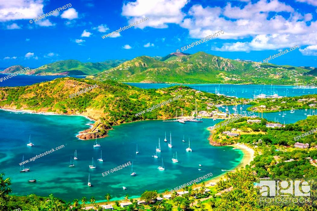 Stock Photo: Shirley Heights, Antigua and Barbuda view from the overlook.
