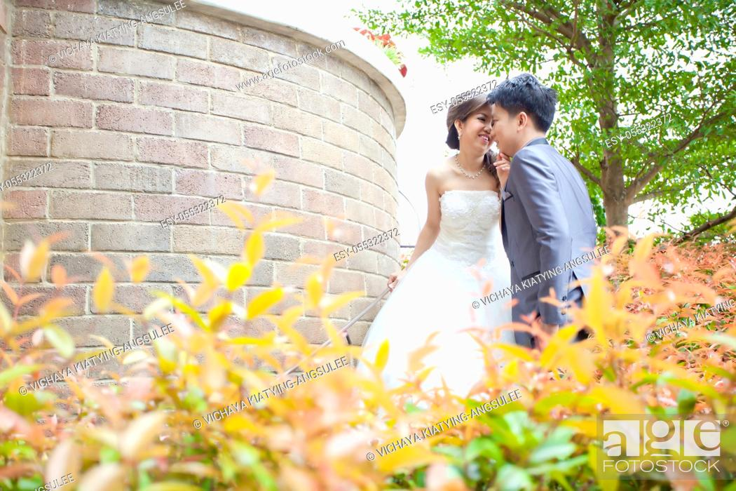 Imagen: Portrait of Happy Romantic Newlyweds Couples kissing for wedding background.