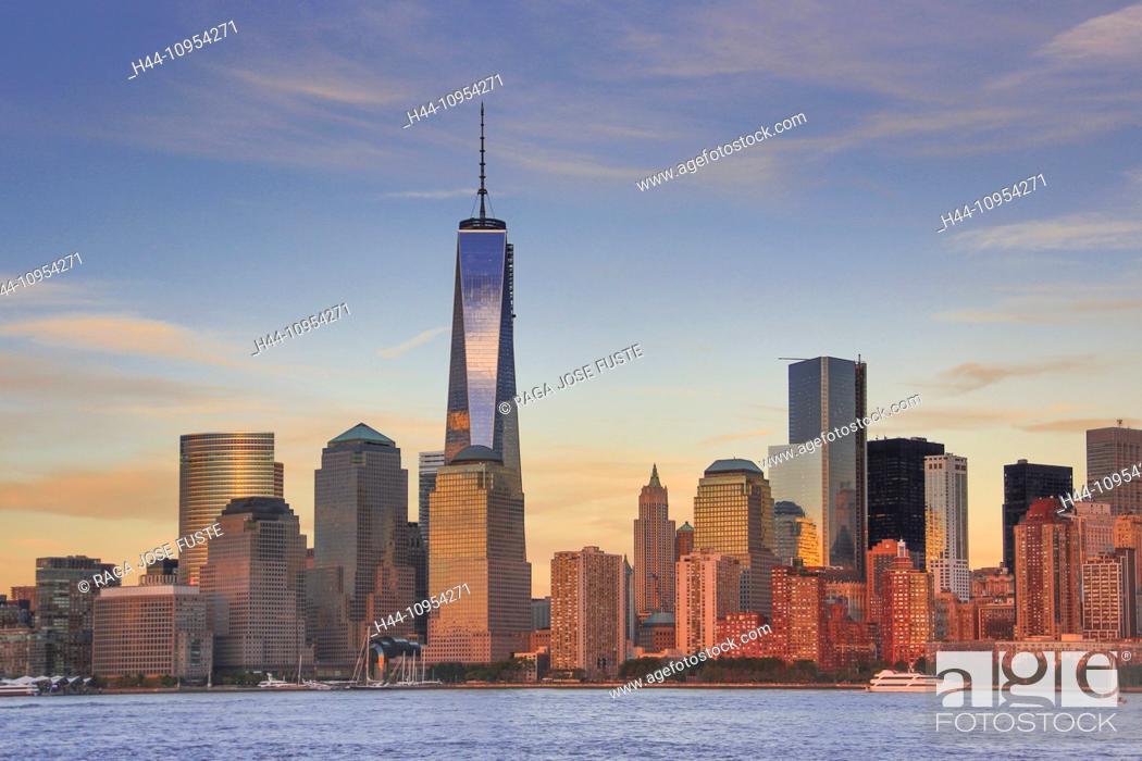 Stock Photo: Manhattan, New York, USA, United States, America, architecture, WTC, city, downtown, ferry, new, panorama, river, skyline, touristic, travel, water, world trade.