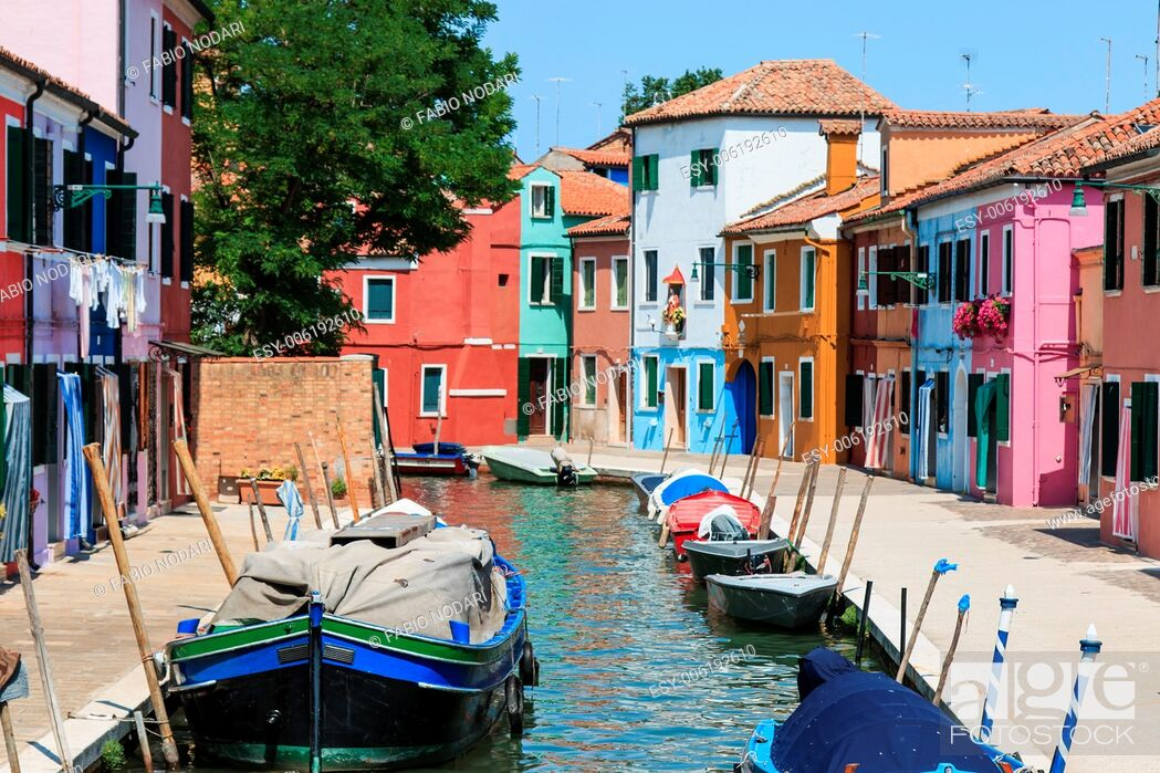 Stock Photo: Burano's Colored Houses, Venice.