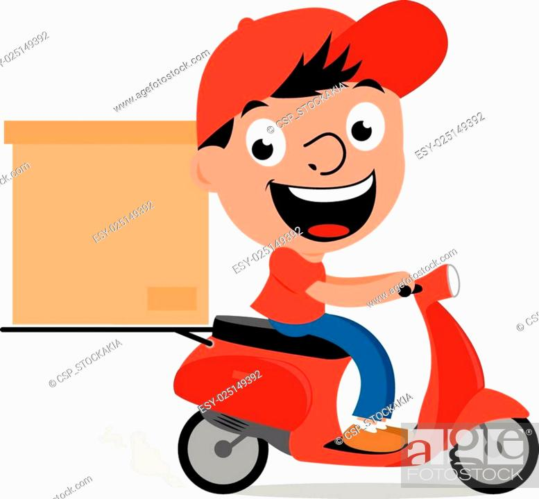 Stock Vector: Delivery man in scooter.