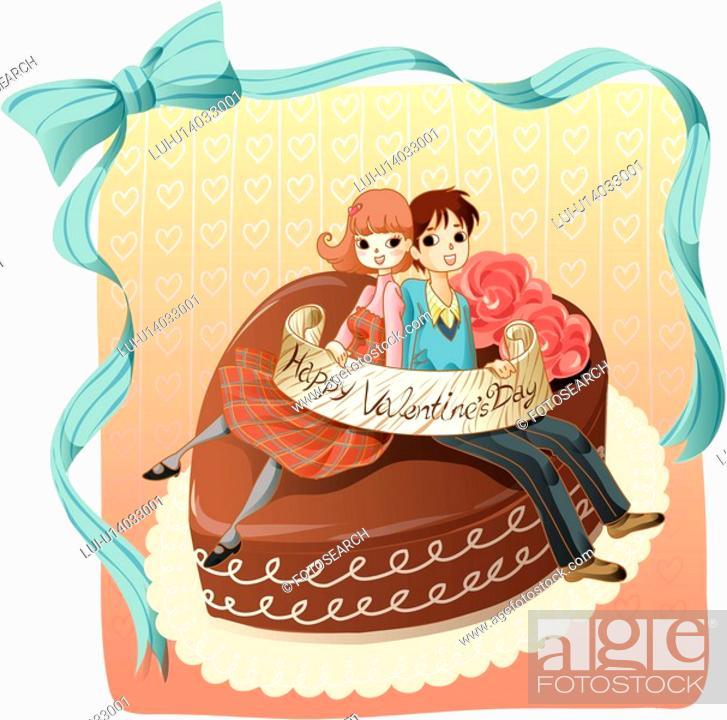 Stock Photo: love, lover, cake, girlfriend, boy friend, couple.
