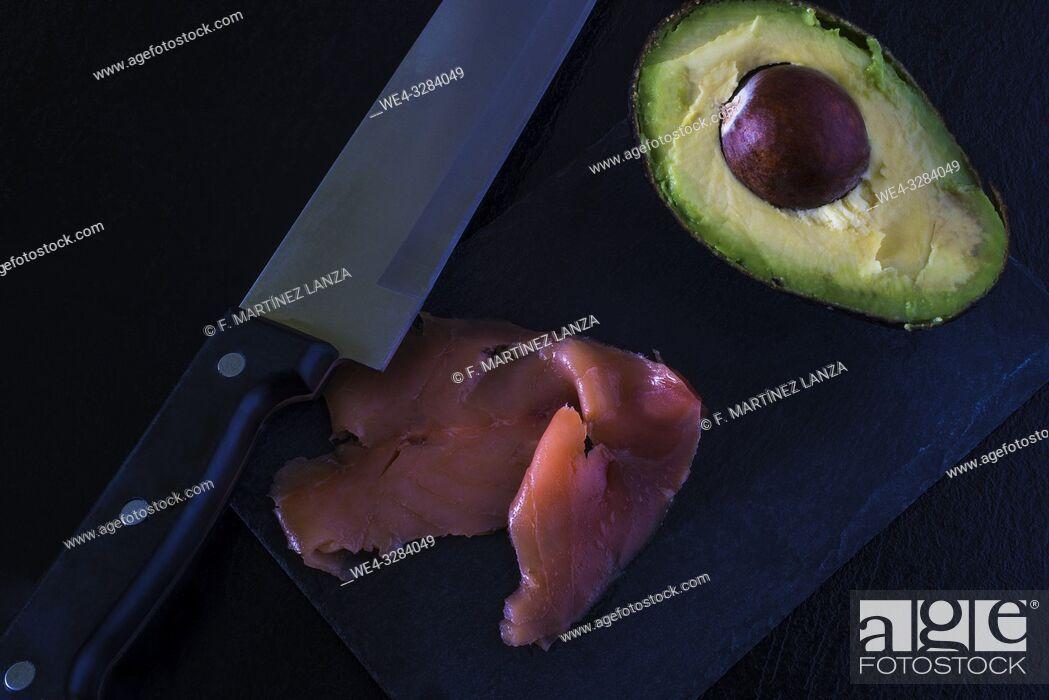 Stock Photo: Avocado and smoked salmon.