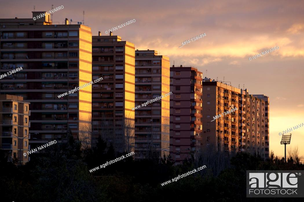 Stock Photo: Residential buildings at dawn, Valencia, Spain.